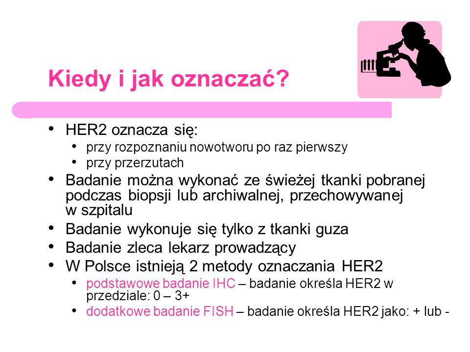 Kiedy i jak oznaczać HER2 oznacza się: