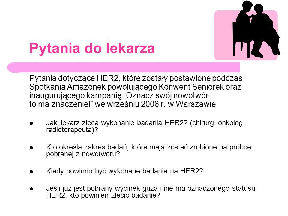 Pytania do lekarza Pytania dotyczące HER2, które zostały postawione podczas. Spotkania Amazonek powołującego Konwent Seniorek oraz.