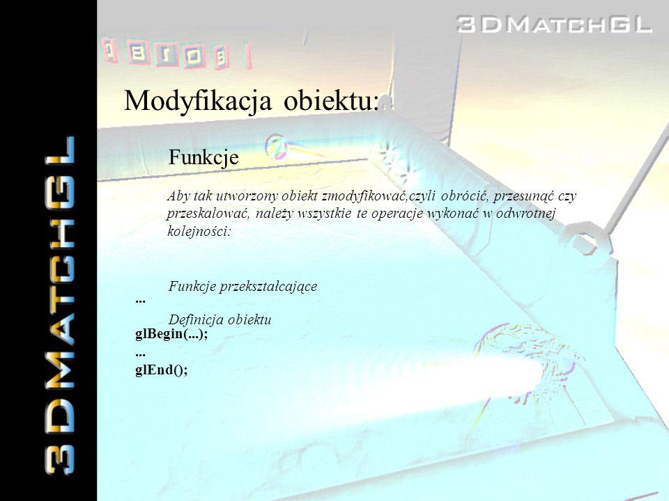 Modyfikacja obiektu: Funkcje