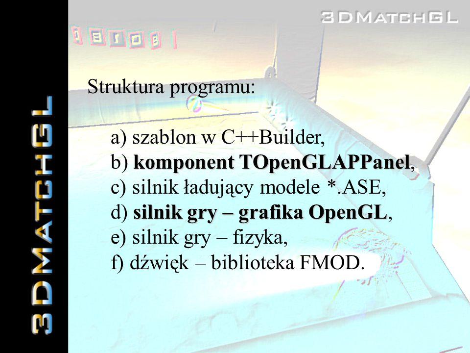 Struktura programu: a) szablon w C++Builder, b) komponent TOpenGLAPPanel, c) silnik ładujący modele *.ASE,