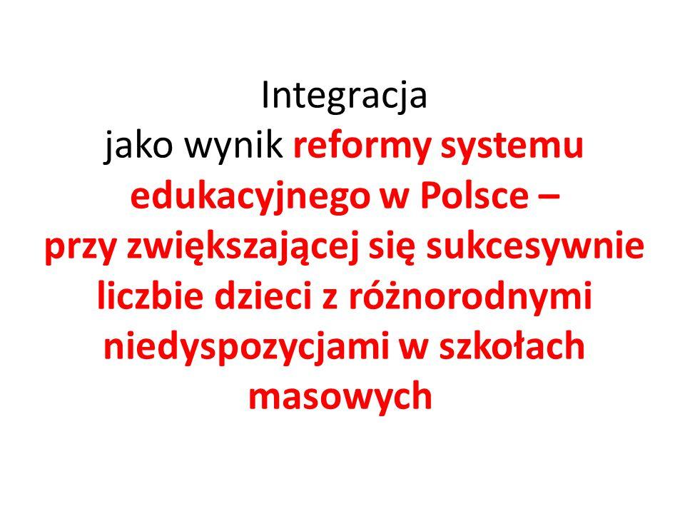 Integracja jako wynik reformy systemu edukacyjnego w Polsce – przy zwiększającej się sukcesywnie liczbie dzieci z różnorodnymi niedyspozycjami w szkołach masowych