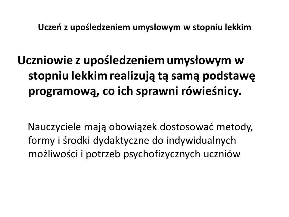 Uczeń z upośledzeniem umysłowym w stopniu lekkim