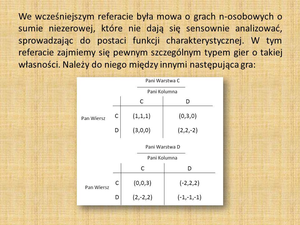 We wcześniejszym referacie była mowa o grach n-osobowych o sumie niezerowej, które nie dają się sensownie analizować, sprowadzając do postaci funkcji charakterystycznej.