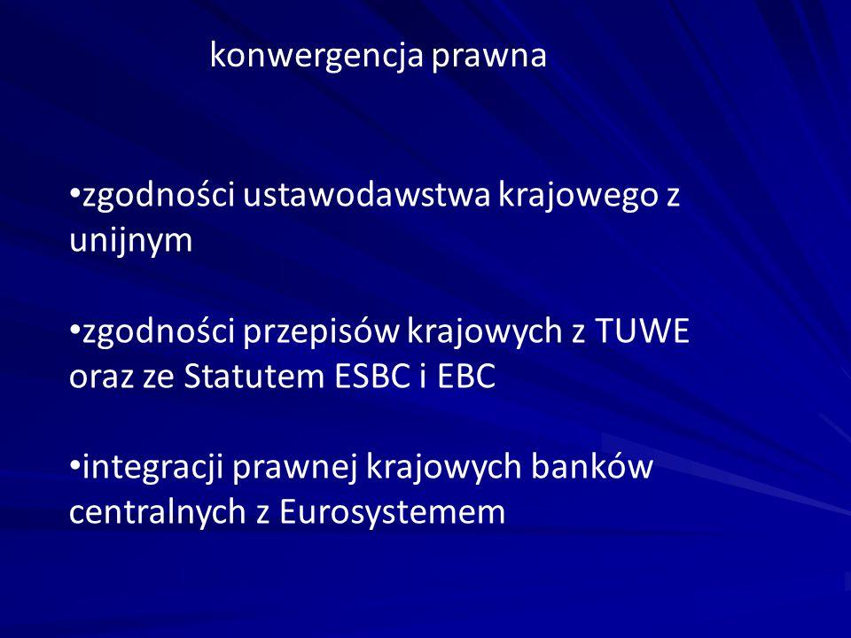 konwergencja prawna zgodności ustawodawstwa krajowego z unijnym. zgodności przepisów krajowych z TUWE oraz ze Statutem ESBC i EBC.