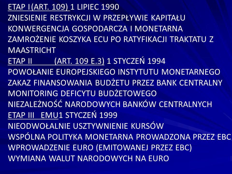 ETAP I (ART. 109) 1 LIPIEC 1990 ZNIESIENIE RESTRYKCJI W PRZEPŁYWIE KAPITAŁU. KONWERGENCJA GOSPODARCZA I MONETARNA.