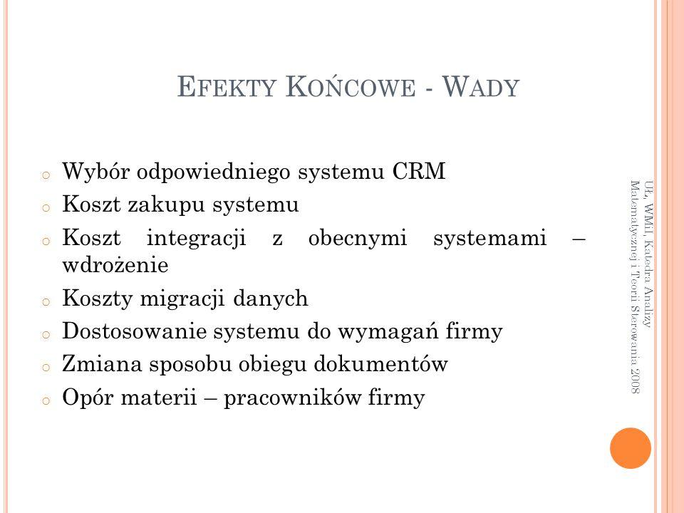 Efekty Końcowe - Wady Wybór odpowiedniego systemu CRM