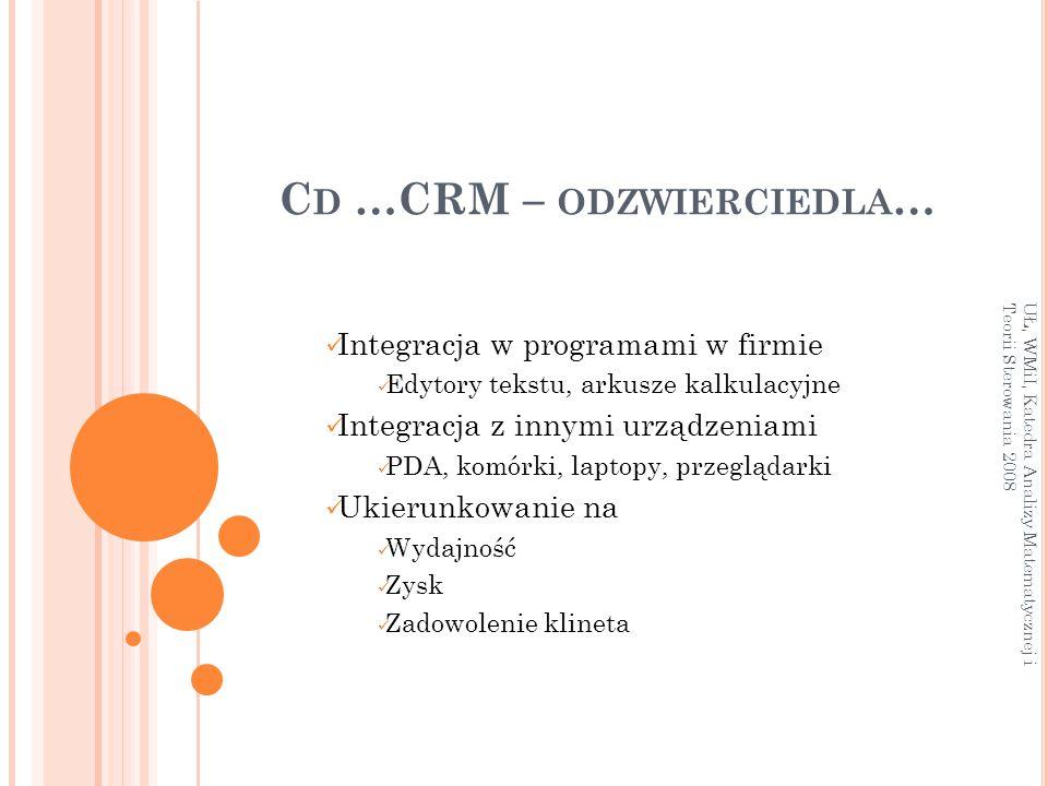 Cd …CRM – odzwierciedla…