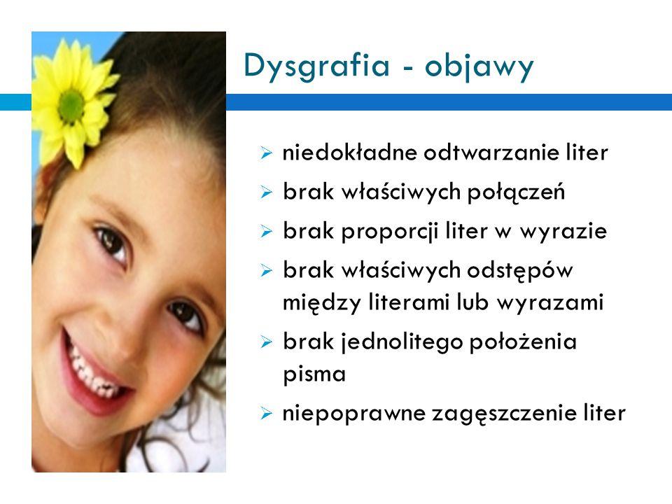 Dysgrafia - objawy niedokładne odtwarzanie liter