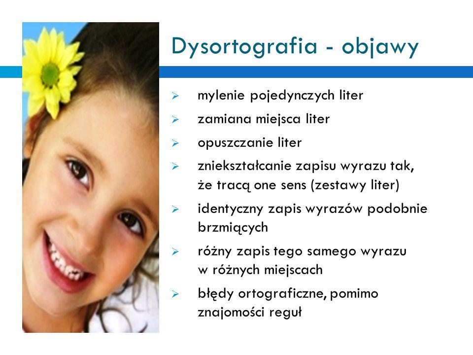 Dysortografia - objawy