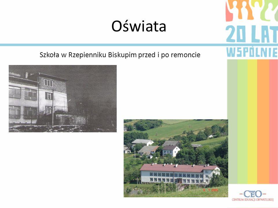 Szkoła w Rzepienniku Biskupim przed i po remoncie
