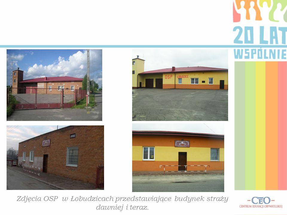Zdjęcia OSP w Łobudzicach przedstawiające budynek straży dawniej i teraz.
