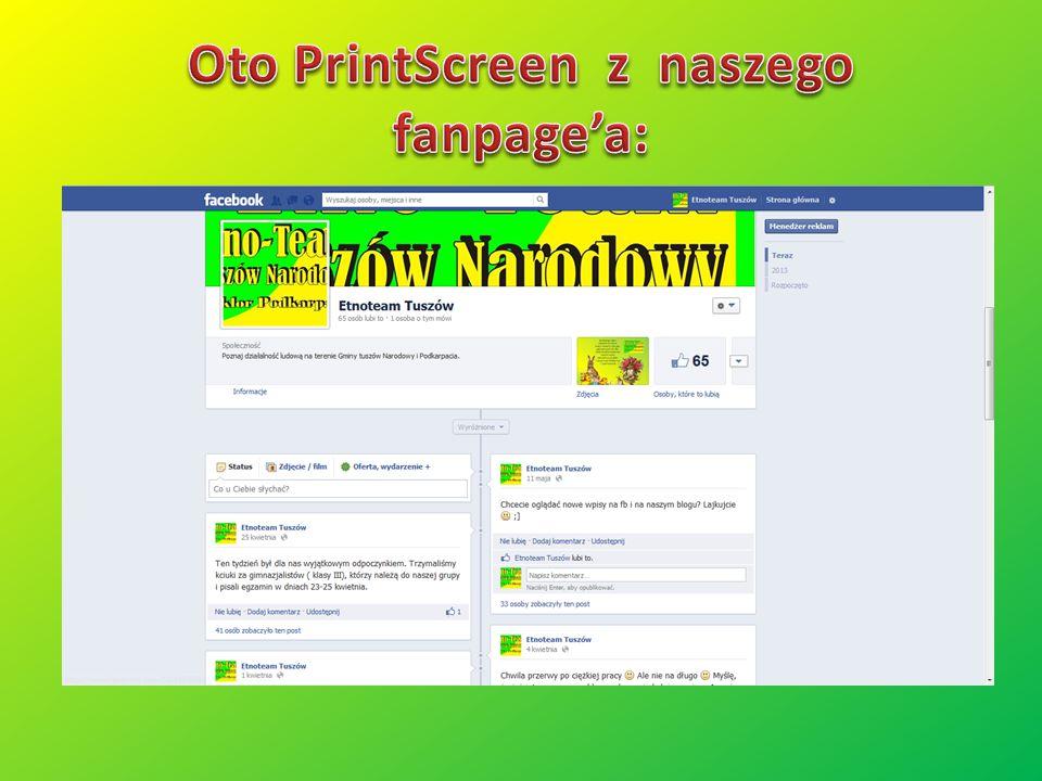 Oto PrintScreen z naszego fanpage'a: