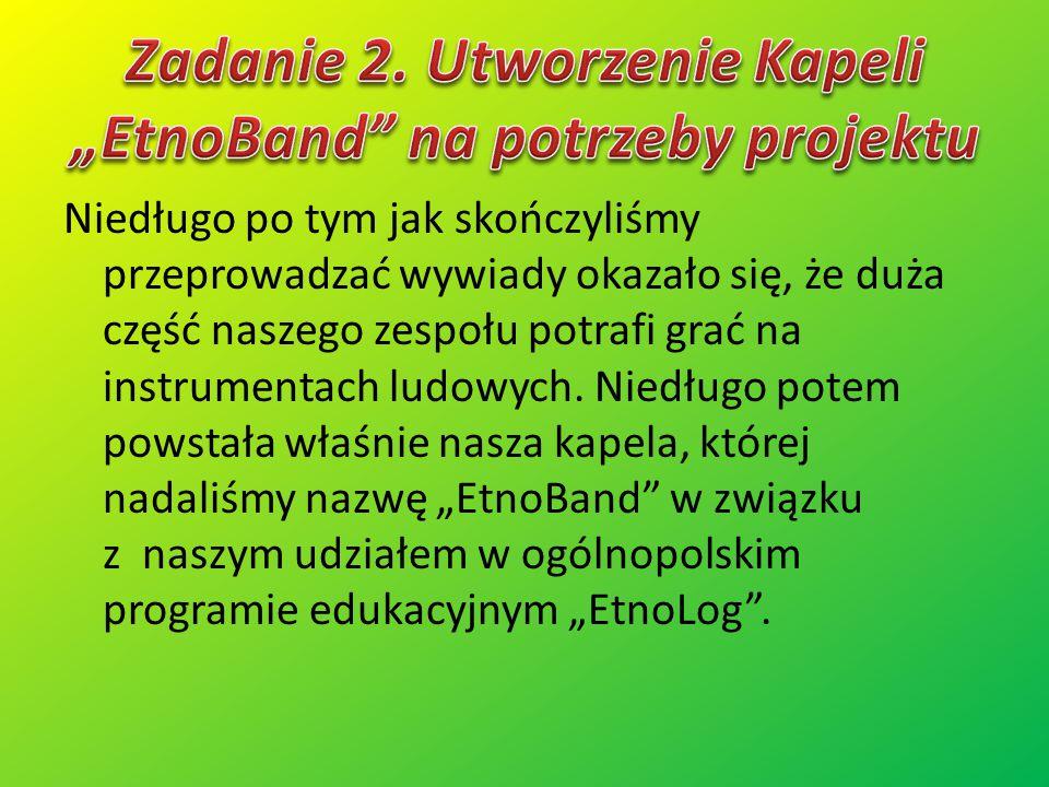 """Zadanie 2. Utworzenie Kapeli """"EtnoBand na potrzeby projektu"""