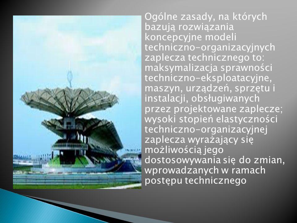 Ogólne zasady, na których bazują rozwiązania koncepcyjne modeli techniczno-organizacyjnych zaplecza technicznego to: maksymalizacja sprawności techniczno-eksploatacyjne, maszyn, urządzeń, sprzętu i instalacji, obsługiwanych przez projektowane zaplecze; wysoki stopień elastyczności techniczno-organizacyjnej zaplecza wyrażający się możliwością jego dostosowywania się do zmian, wprowadzanych w ramach postępu technicznego