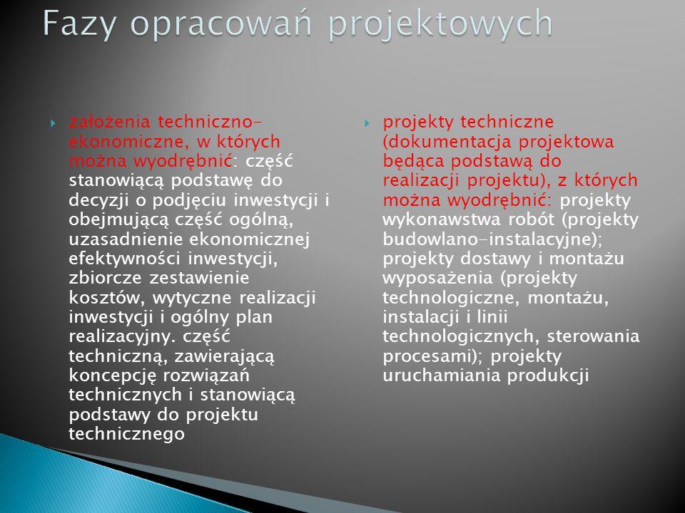 Fazy opracowań projektowych