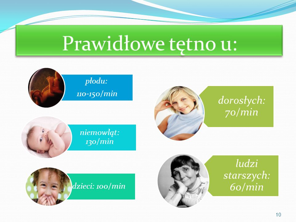 Prawidłowe tętno u: 110-150/min płodu: niemowląt: 130/min