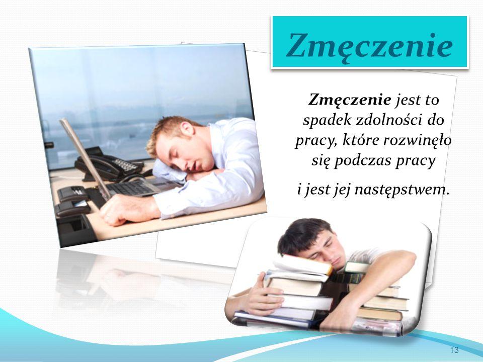 Zmęczenie Zmęczenie jest to spadek zdolności do pracy, które rozwinęło się podczas pracy.