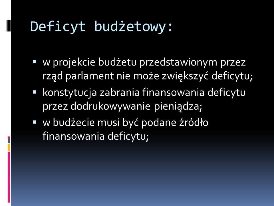 Deficyt budżetowy: w projekcie budżetu przedstawionym przez rząd parlament nie może zwiększyć deficytu;