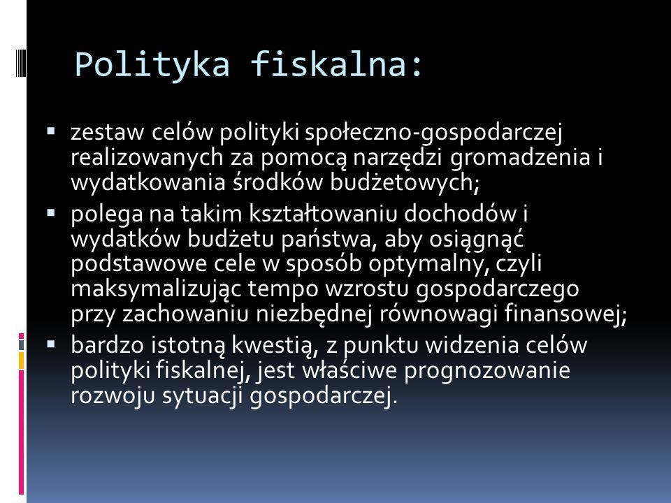 Polityka fiskalna: zestaw celów polityki społeczno-gospodarczej realizowanych za pomocą narzędzi gromadzenia i wydatkowania środków budżetowych;