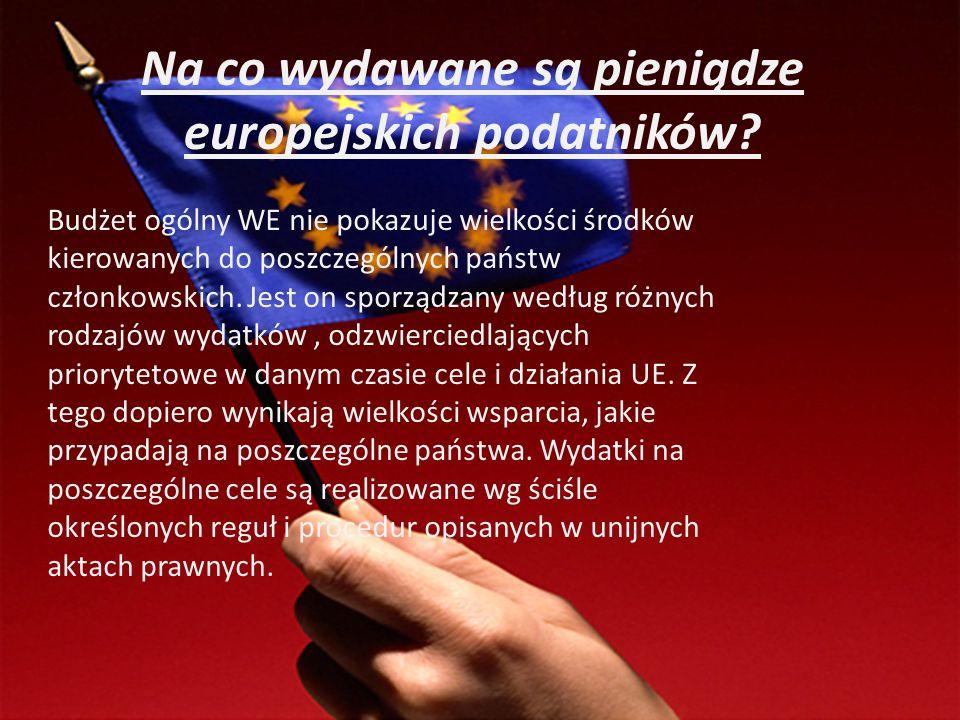 Na co wydawane są pieniądze europejskich podatników