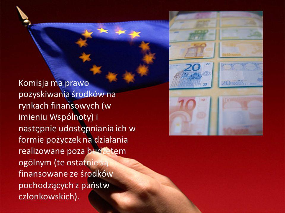 Komisja ma prawo pozyskiwania środków na rynkach finansowych (w imieniu Wspólnoty) i następnie udostępniania ich w formie pożyczek na działania realizowane poza budżetem ogólnym (te ostatnie są finansowane ze środków pochodzących z państw członkowskich).