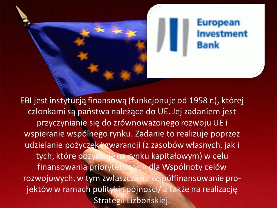 EBI jest instytucją finansową (funkcjonuje od 1958 r
