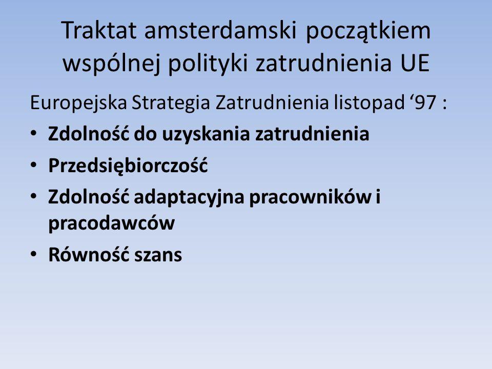 Traktat amsterdamski początkiem wspólnej polityki zatrudnienia UE