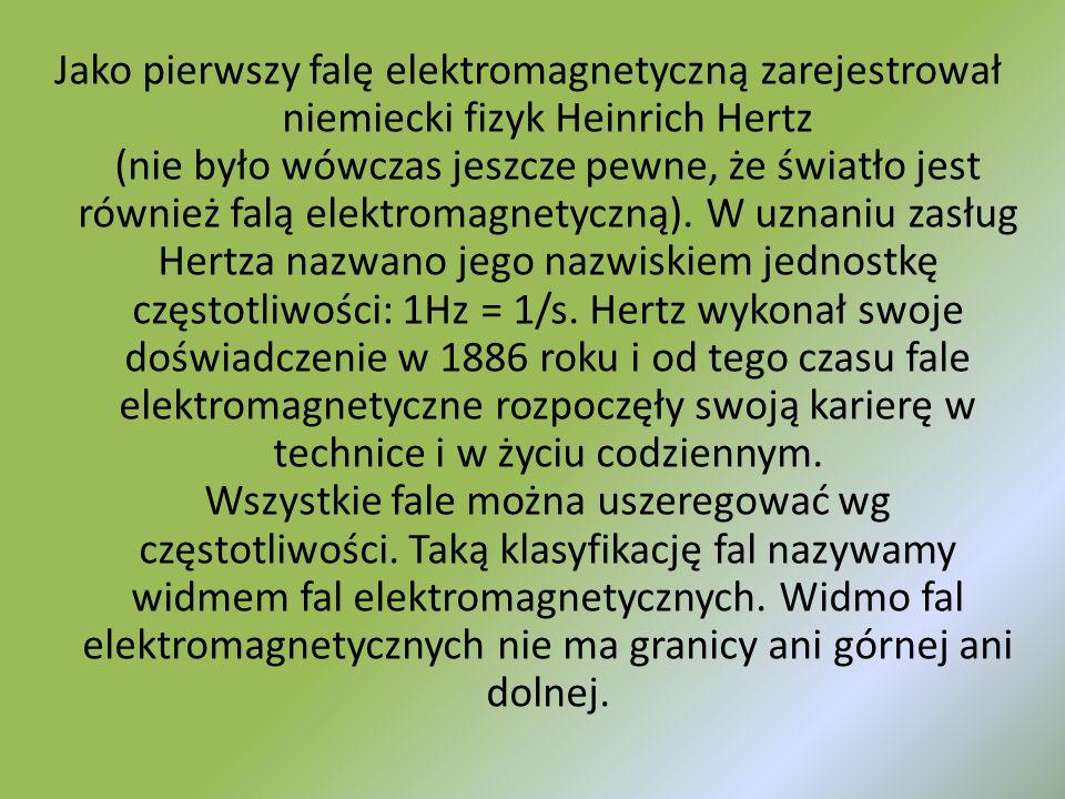 Jako pierwszy falę elektromagnetyczną zarejestrował niemiecki fizyk Heinrich Hertz (nie było wówczas jeszcze pewne, że światło jest również falą elektromagnetyczną).