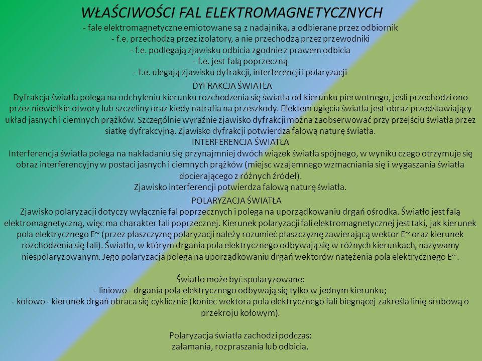 WŁAŚCIWOŚCI FAL ELEKTROMAGNETYCZNYCH - fale elektromagnetyczne emiotowane są z nadajnika, a odbierane przez odbiornik - f.e. przechodzą przez izolatory, a nie przechodzą przez przewodniki - f.e. podlegają zjawisku odbicia zgodnie z prawem odbicia - f.e. jest falą poprzeczną - f.e. ulegają zjawisku dyfrakcji, interferencji i polaryzacji