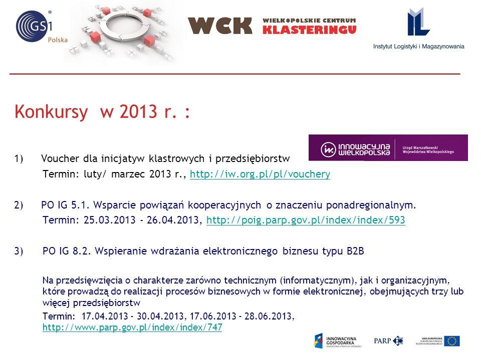 Konkursy w 2013 r. : Voucher dla inicjatyw klastrowych i przedsiębiorstw. Termin: luty/ marzec 2013 r., http://iw.org.pl/pl/vouchery.