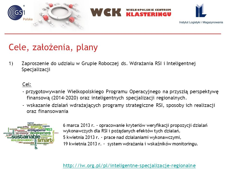 Cele, założenia, plany Zaproszenie do udziału w Grupie Roboczej ds. Wdrażania RSI i Inteligentnej Specjalizacji.