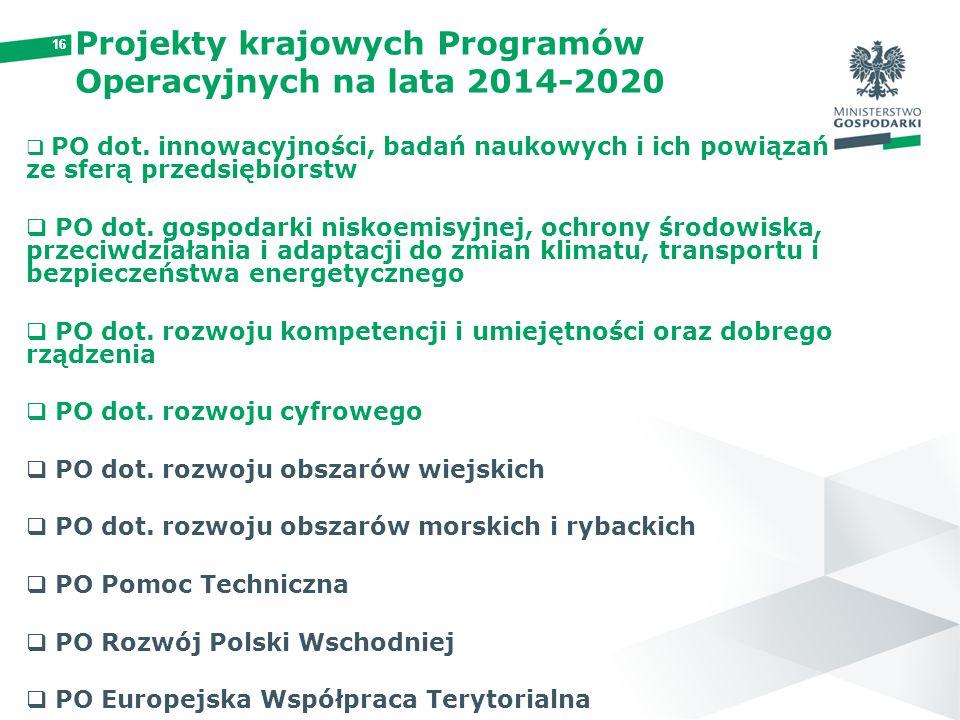 Projekty krajowych Programów Operacyjnych na lata 2014-2020