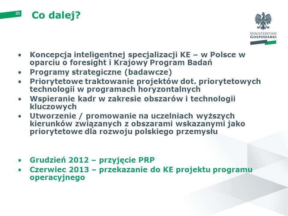 Co dalej Koncepcja inteligentnej specjalizacji KE – w Polsce w oparciu o foresight i Krajowy Program Badań.