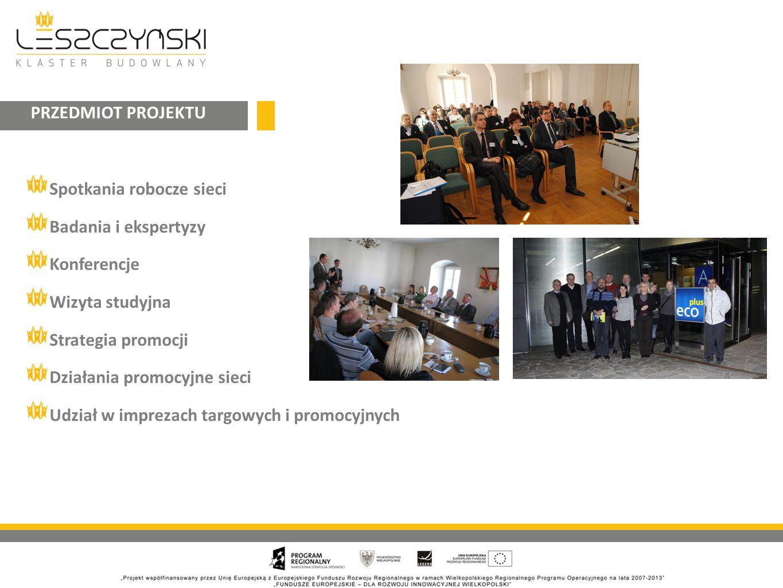 PRZEDMIOT PROJEKTU Spotkania robocze sieci. Badania i ekspertyzy. Konferencje. Wizyta studyjna. Strategia promocji.