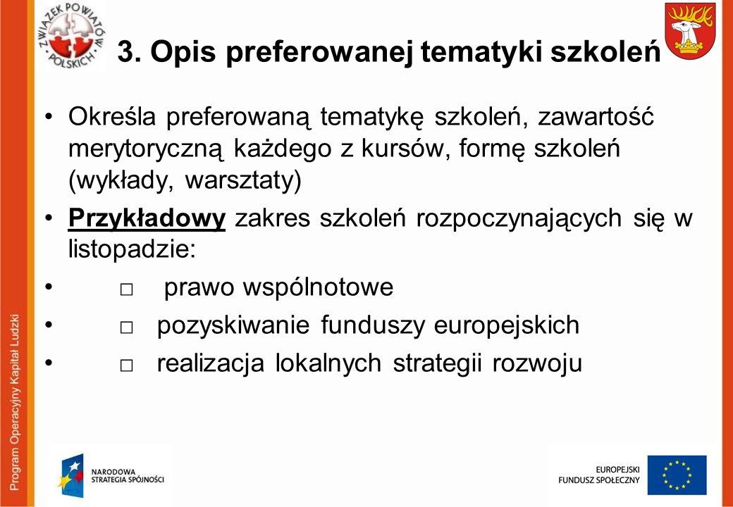 3. Opis preferowanej tematyki szkoleń