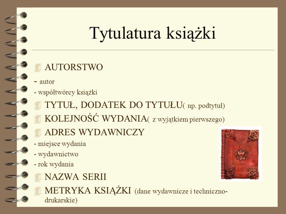 Tytulatura książki AUTORSTWO - autor