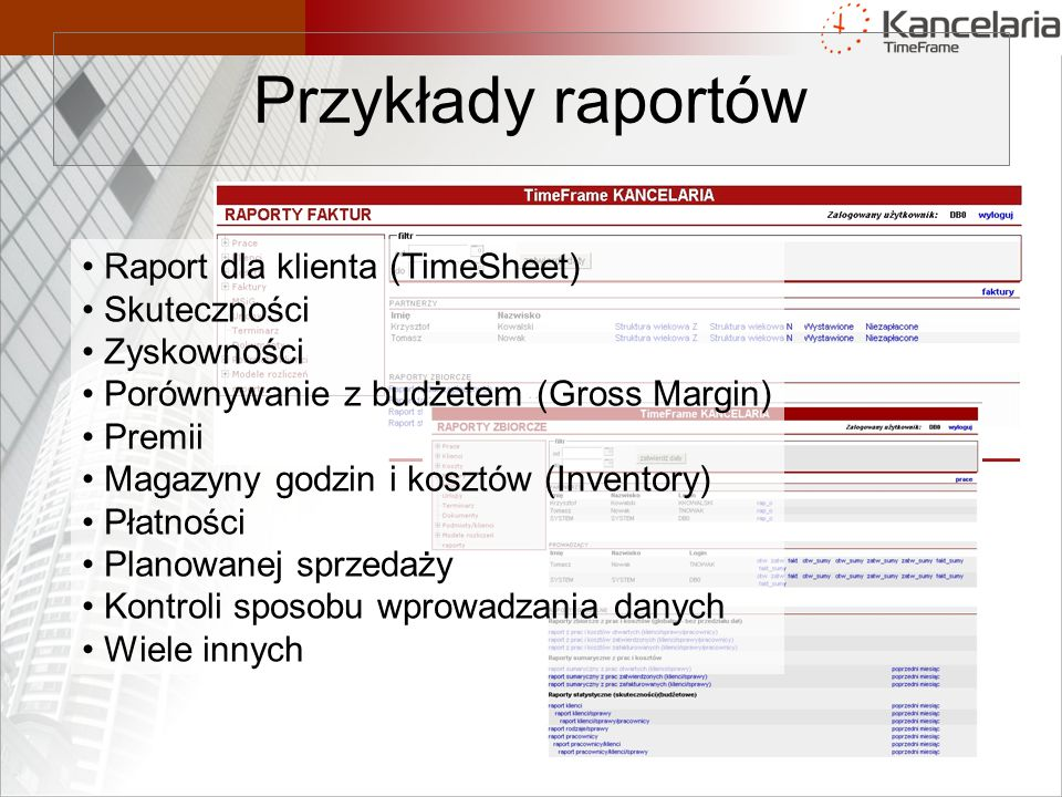 Przykłady raportów Raport dla klienta (TimeSheet) Skuteczności