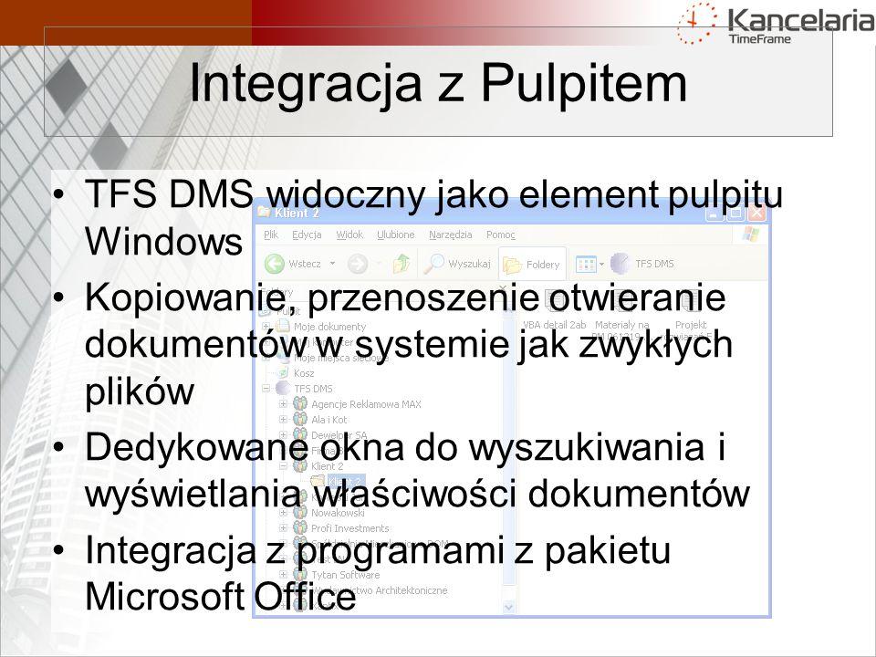 Integracja z Pulpitem TFS DMS widoczny jako element pulpitu Windows
