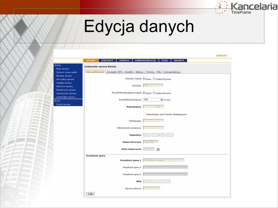 Edycja danych
