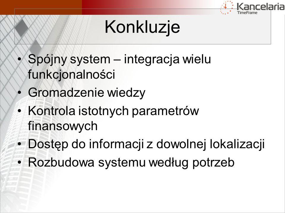 Konkluzje Spójny system – integracja wielu funkcjonalności