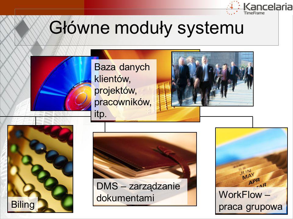 Główne moduły systemu Baza danych klientów, projektów, pracowników,