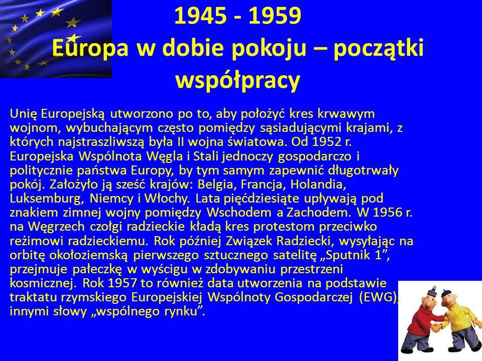 1945 - 1959 Europa w dobie pokoju – początki współpracy