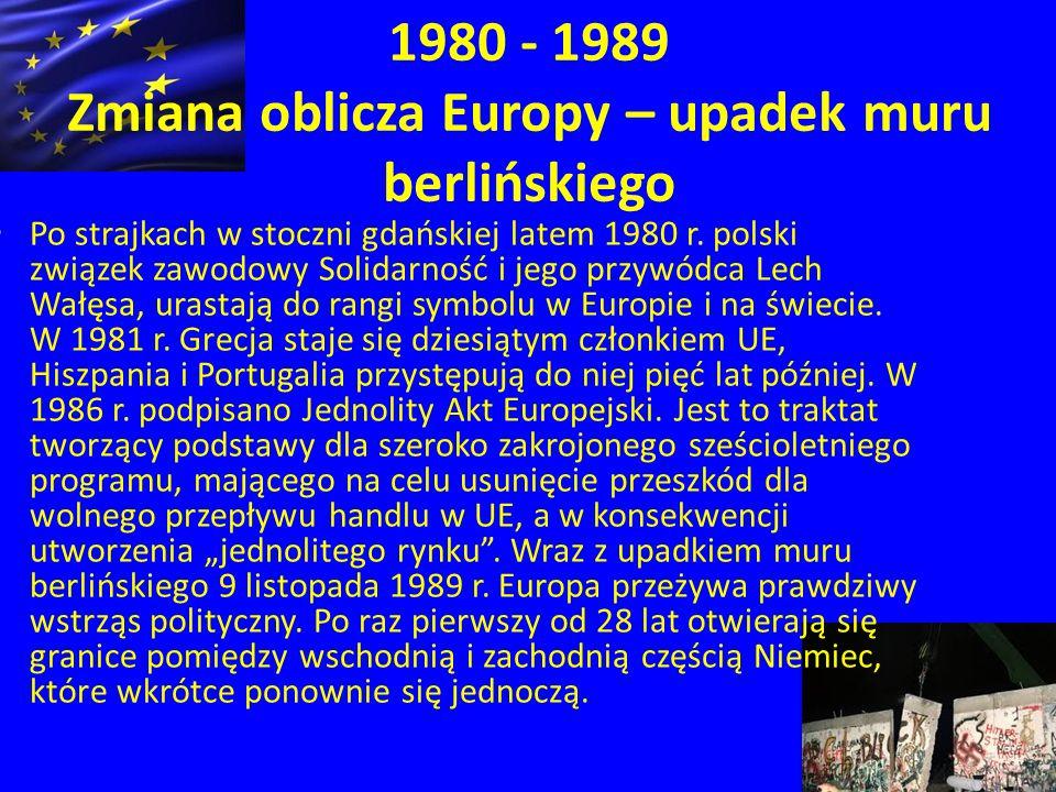 1980 - 1989 Zmiana oblicza Europy – upadek muru berlińskiego