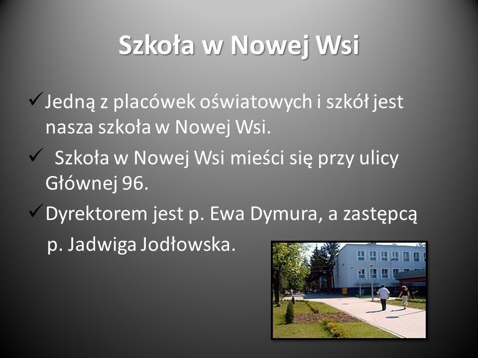 Szkoła w Nowej Wsi Jedną z placówek oświatowych i szkół jest nasza szkoła w Nowej Wsi. Szkoła w Nowej Wsi mieści się przy ulicy Głównej 96.