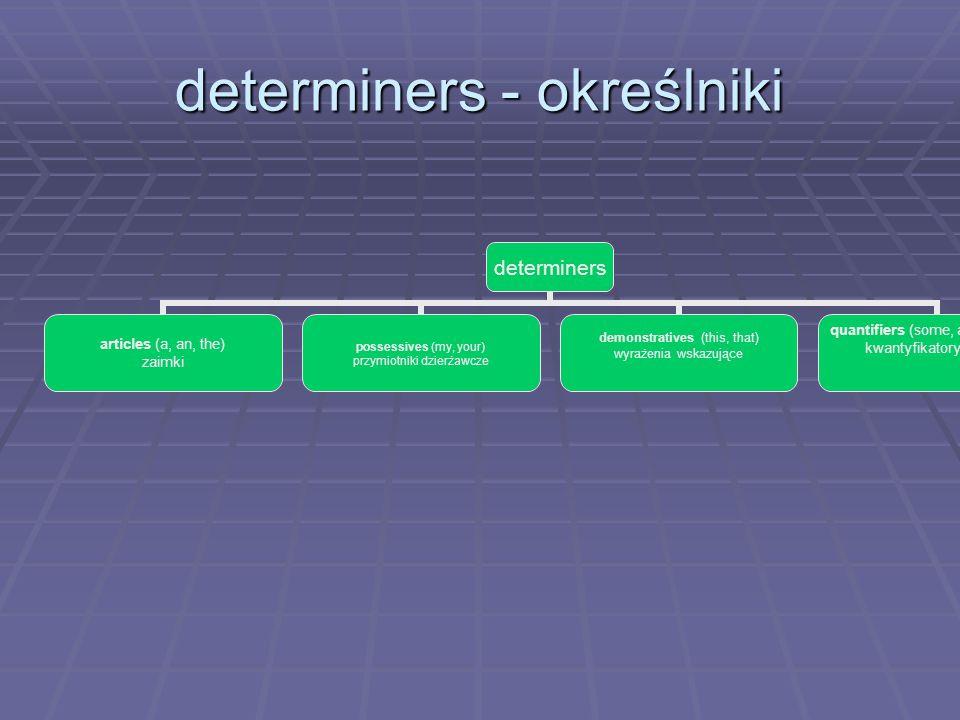 determiners - określniki