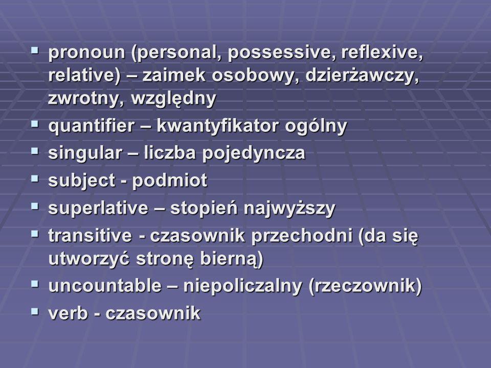 pronoun (personal, possessive, reflexive, relative) – zaimek osobowy, dzierżawczy, zwrotny, względny