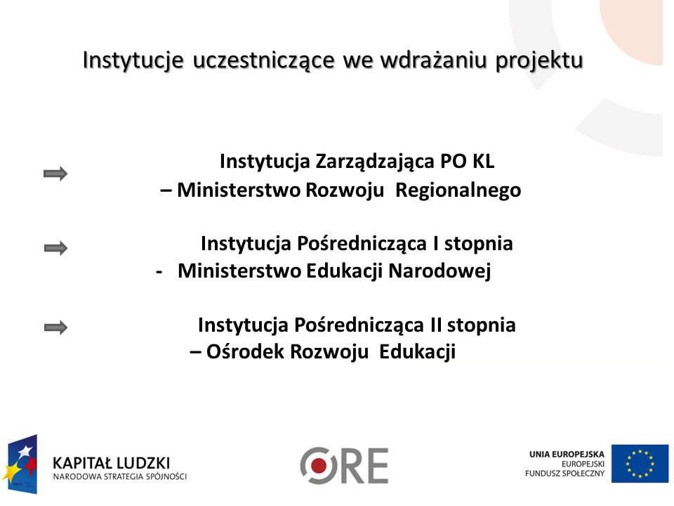 Instytucje uczestniczące we wdrażaniu projektu