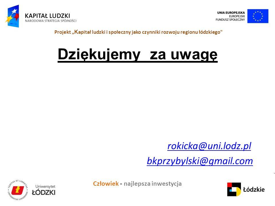 Dziękujemy za uwagę rokicka@uni.lodz.pl bkprzybylski@gmail.com