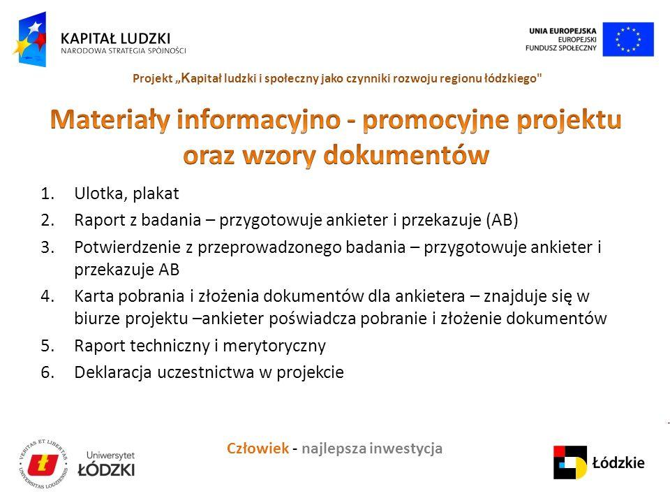 Materiały informacyjno - promocyjne projektu oraz wzory dokumentów
