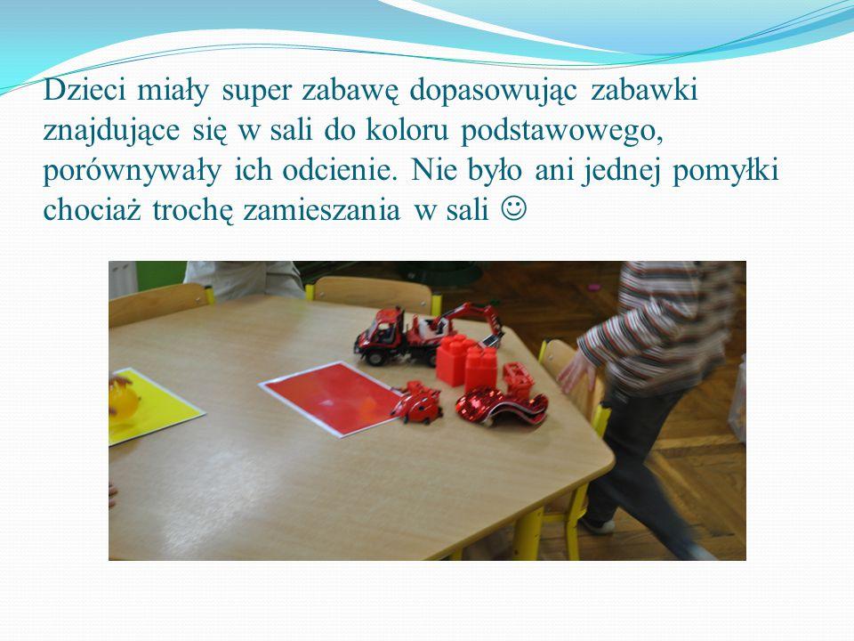 Dzieci miały super zabawę dopasowując zabawki znajdujące się w sali do koloru podstawowego, porównywały ich odcienie.